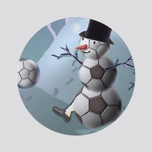 Soccer Christmas Snowman Ornament (Round)