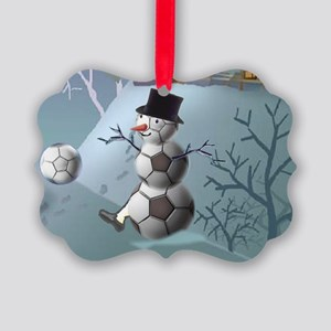 Soccer Christmas Snowman Picture Ornament