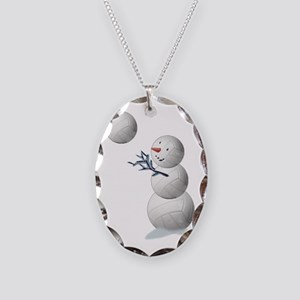 Volleyball Snowman Christmas Necklace Oval Charm