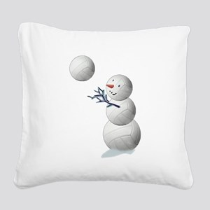 Volleyball Snowman Christmas Square Canvas Pillow