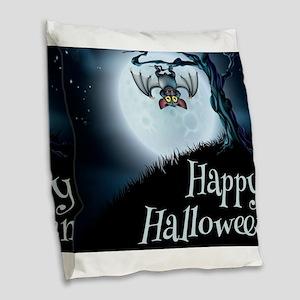 Happy Halloween Little Vampire Burlap Throw Pillow