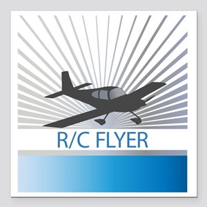 """RC Flyer Low Wing Airpla Square Car Magnet 3"""" x 3"""""""