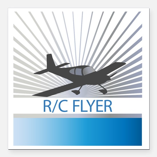 "RC Flyer Low Wing Airpla Square Car Magnet 3"" x 3"""