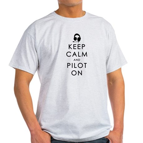 KEEP CALM AND PILOT ON Black T-Shirt