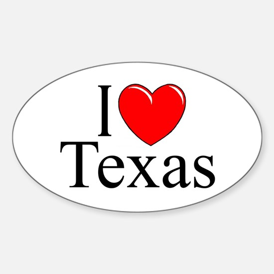 """I Love Texas"" Oval Decal"