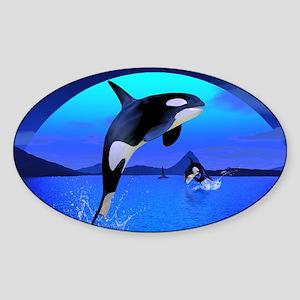 orca_16x20_print Sticker (Oval)