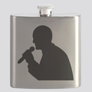 Man With Mic Silhouette Flask