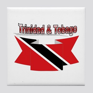 Trinidad flag ribbon Tile Coaster