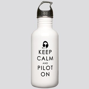 KEEP CALM AND PILOT ON Black Water Bottle