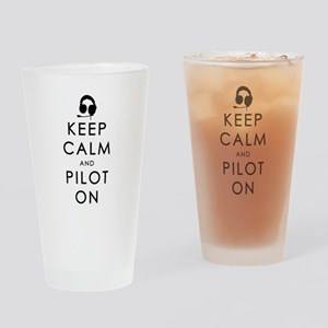 KEEP CALM AND PILOT ON Black Drinking Glass