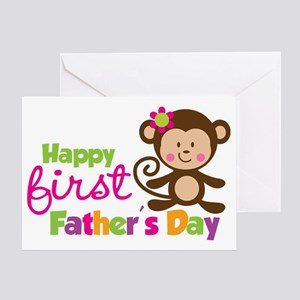 MonkeyGirl1stFathersDay Greeting Card