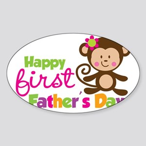 MonkeyGirl1stFathersDay Sticker (Oval)