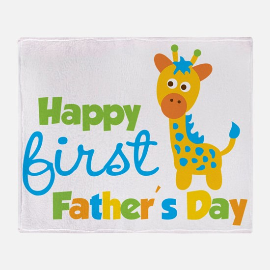 Giraffe 1st Fathers Day Throw Blanket