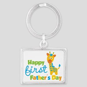 Giraffe 1st Fathers Day Landscape Keychain