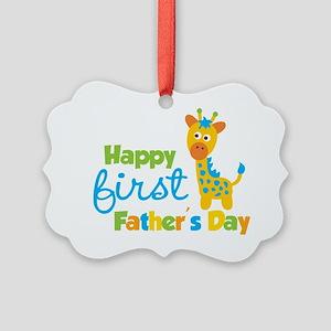 Giraffe 1st Fathers Day Picture Ornament