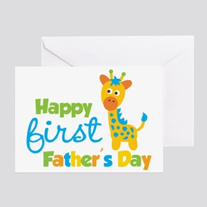 Giraffe 1st Fathers Day Greeting Card
