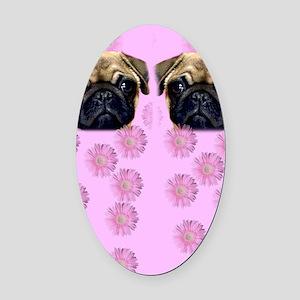 Pug Dog Oval Car Magnet