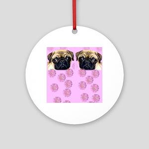 Pug Dog Round Ornament