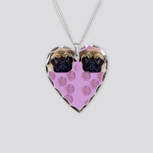 Pug Dog Necklace Heart Charm