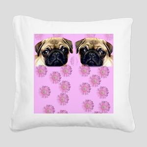 Pug Dog Square Canvas Pillow