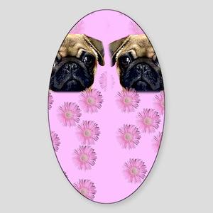 Pug Dog Sticker (Oval)