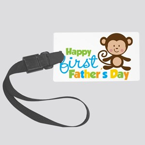 MonkeyBoy1stFathersDay Large Luggage Tag