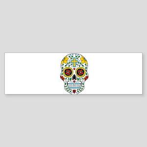 Funky Sugar Skull Bumper Sticker