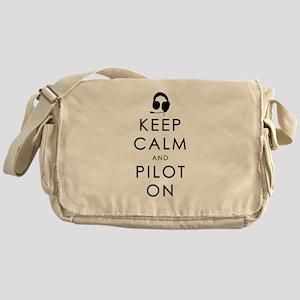KEEP CALM AND PILOT ON Black Messenger Bag