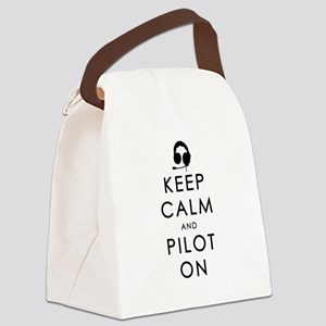 KEEP CALM AND PILOT ON Black Canvas Lunch Bag