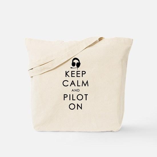 KEEP CALM AND PILOT ON Black Tote Bag
