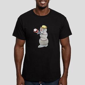 Baseball Snowman Christmas Men's Fitted T-Shirt (d