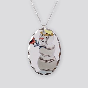 Baseball Snowman Christmas Necklace Oval Charm