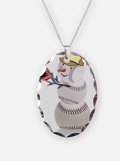 Baseball Snowman Christmas Necklace