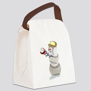 Baseball Snowman Christmas Canvas Lunch Bag