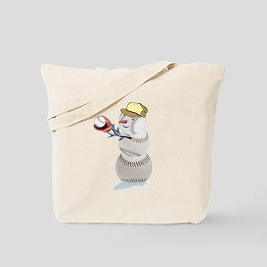 Baseball Snowman Christmas Tote Bag