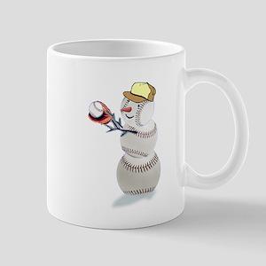 Baseball Snowman Christmas Mug