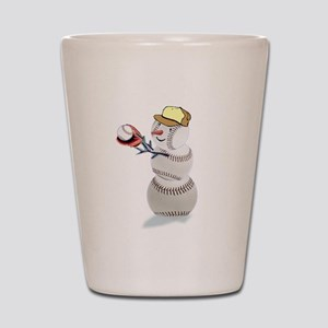 Baseball Snowman Christmas Shot Glass