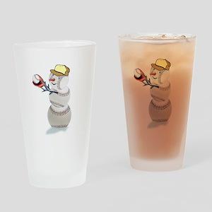 Baseball Snowman Christmas Drinking Glass