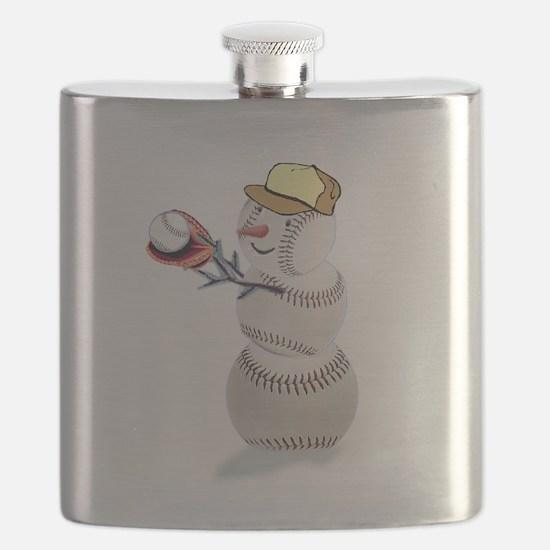 Baseball Snowman Christmas Flask