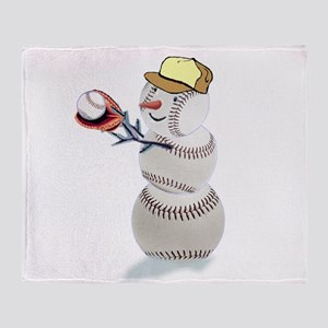 Baseball Snowman Christmas Throw Blanket
