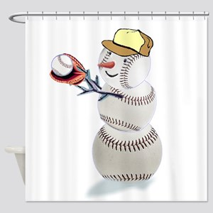 Baseball Snowman Christmas Shower Curtain