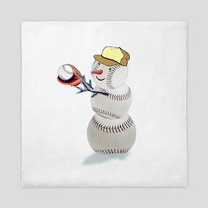 Baseball Snowman Christmas Queen Duvet