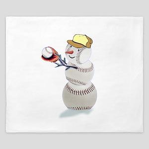 Baseball Snowman Christmas King Duvet