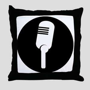 Black Microphone Icon Throw Pillow