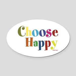 Choose Happy 01 Oval Car Magnet