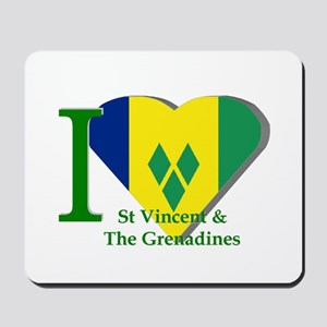 I love St Vincent flag Mousepad