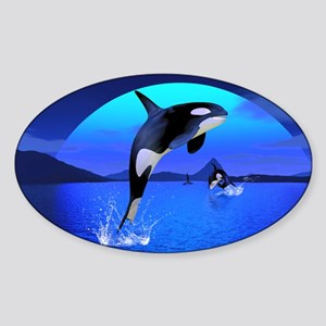 orca_pillow_case Sticker (Oval)