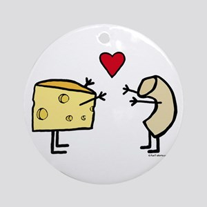Macaroni and Cheese Love Round Ornament