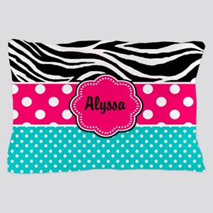 Pink Blue Zebra Personalized Pillow Case
