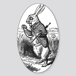 White Rabbit Oval Sticker